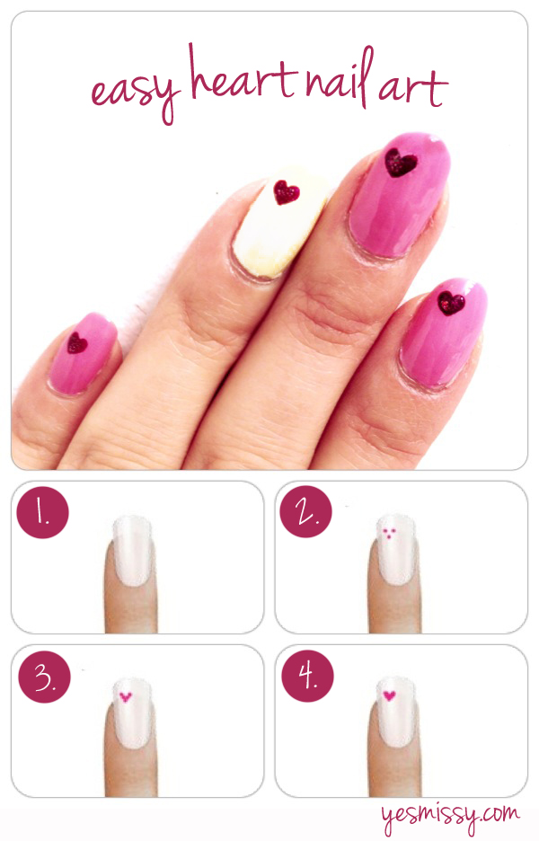 super easy heart nail step by step