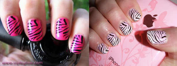 Superbe Zebra Print Nails | How To Do Zebra Nails At Home