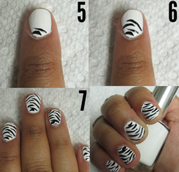Zebra Print Nails Step by Step Tutorial