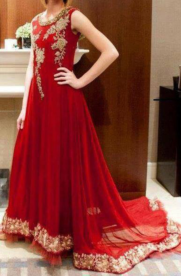 Red Tail Frock Design in Pakistan