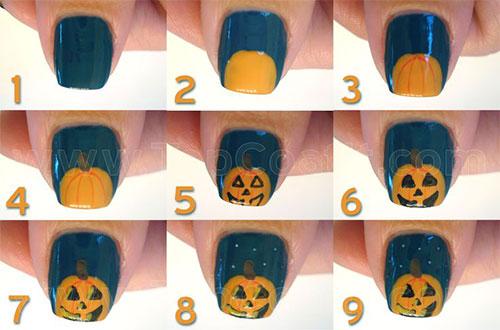 super easy halloween pumpkin nail DIY tutorial