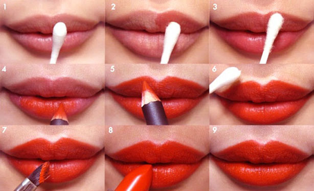 7 Top Glamorous Holiday Step by Step Lipstick Tutorials - Bold Lips