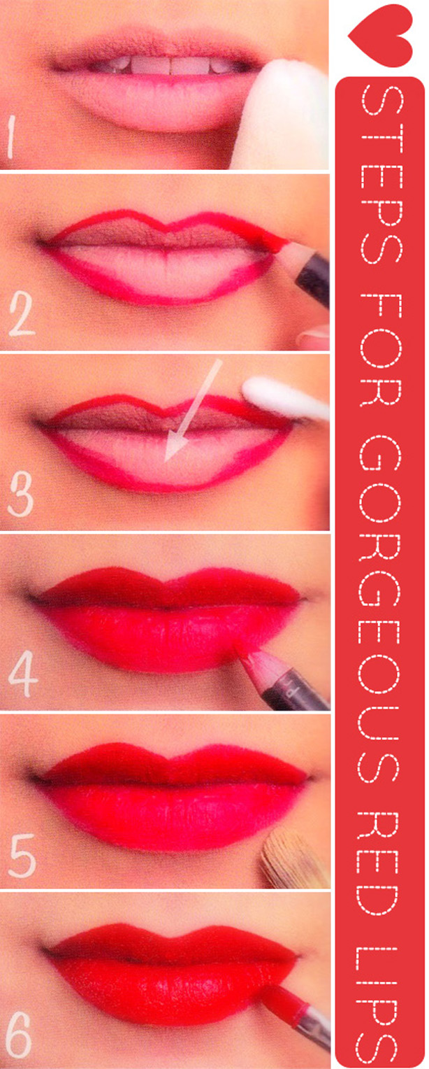 7 Top Glamorous Holiday Step By Step Lipstick Tutorials - Bold Lips - StyleGlow.com