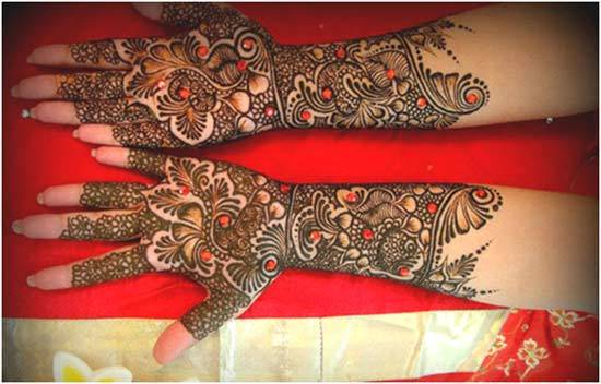 beautiful full arm bridal mehndi design