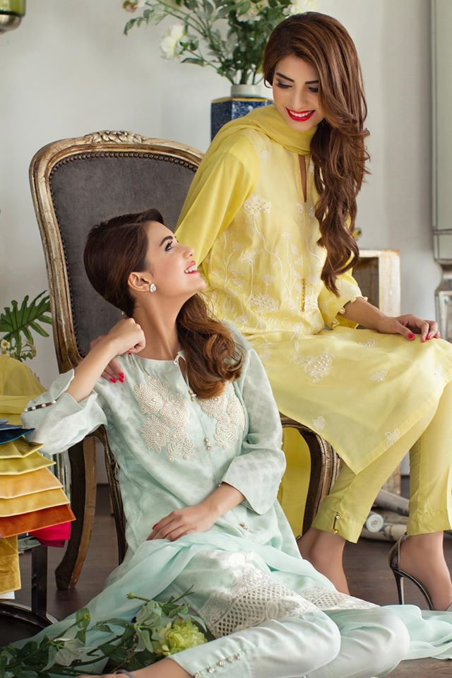 party wear light green and yellow eid dresses