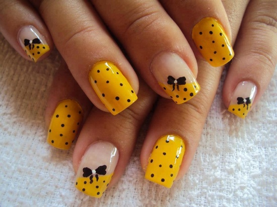 Yellow polka dot nail design 2019