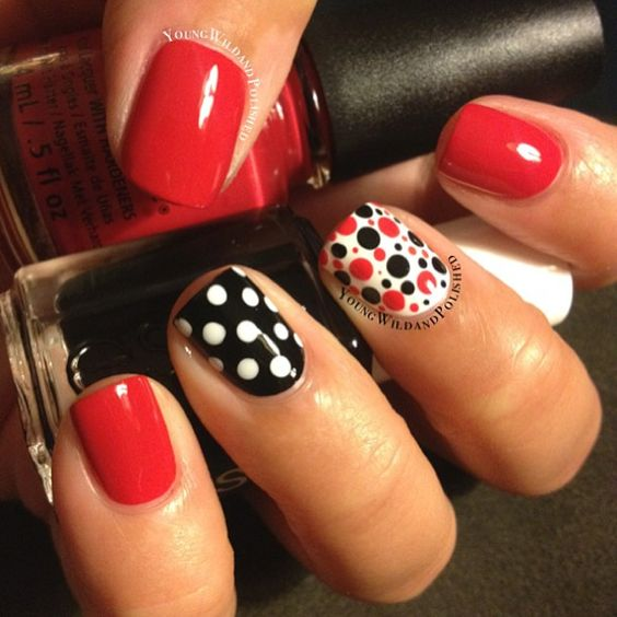 black and red polka dot nail designs 2019