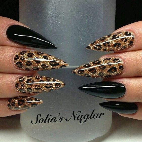 black and gold leopard nails for girls