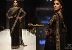 Latest Pakistani black embroidered Designer Saree Designs 2017