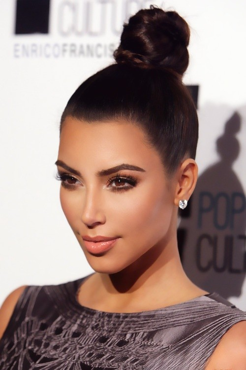 Kim Kardashian high updo for spring summer