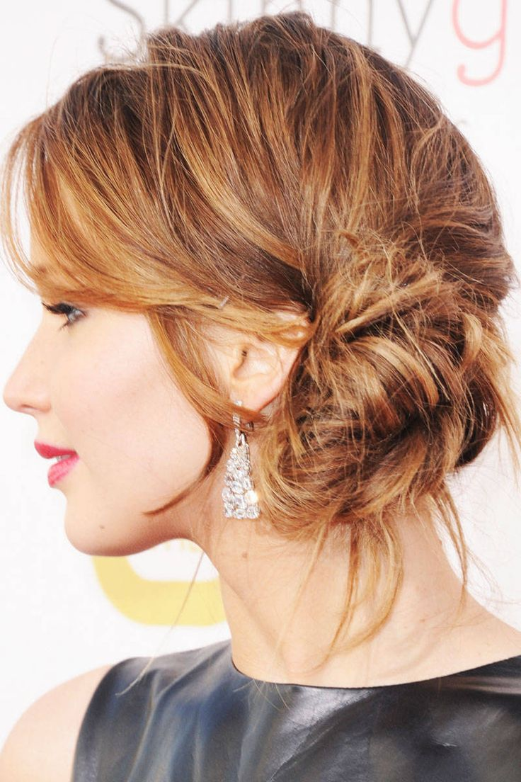Jenifer Lawrence messy side bun for spring summer 2017
