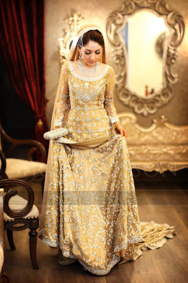 Pakistani Bridal Dresses 2017 In Golden Color