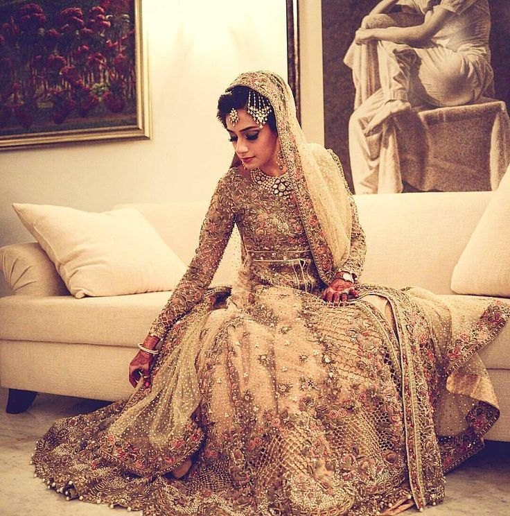 Golden floor length heavy embroidery frock 2017 for brides