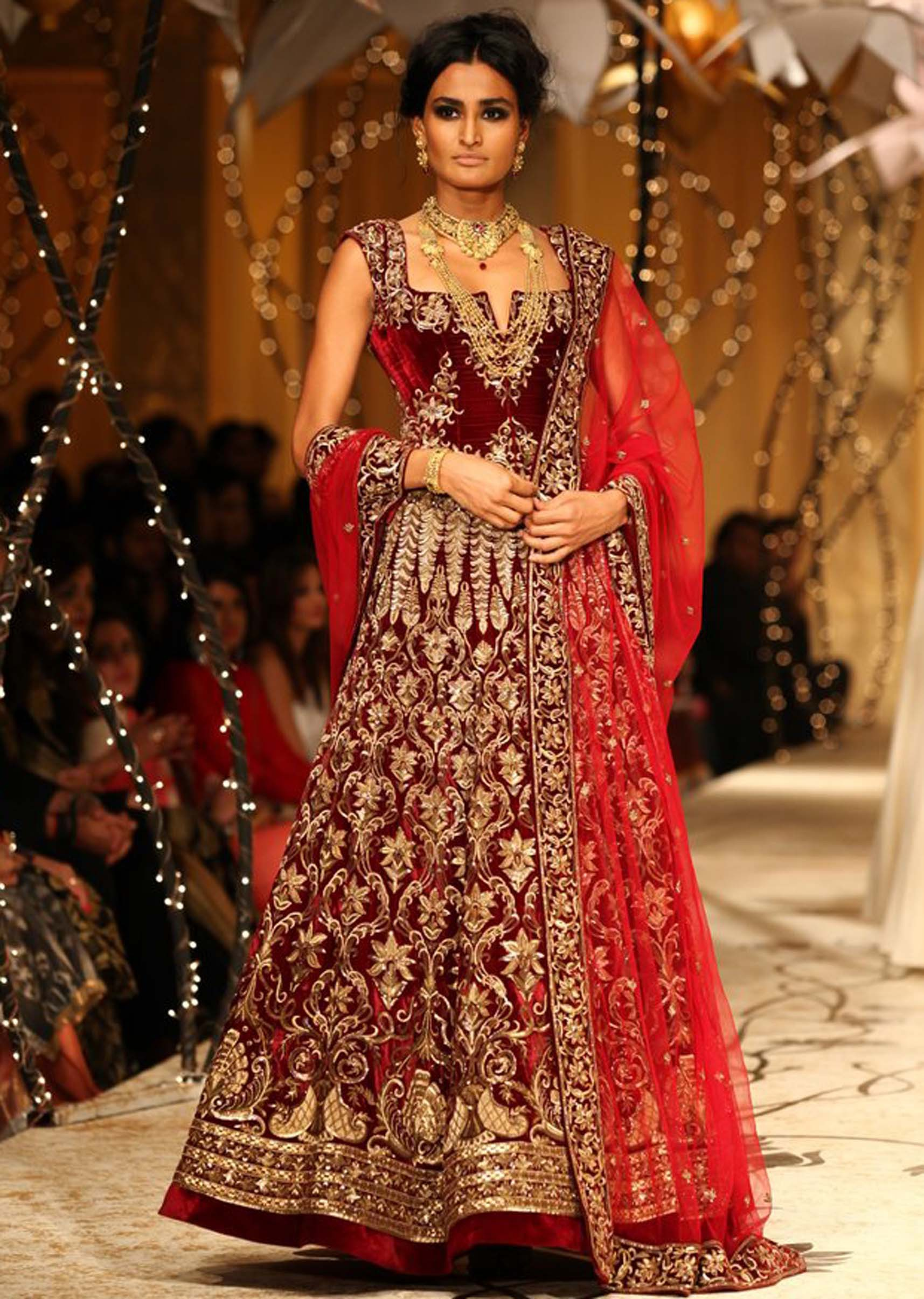 Pakistani bridal frock 2017 in maroon color