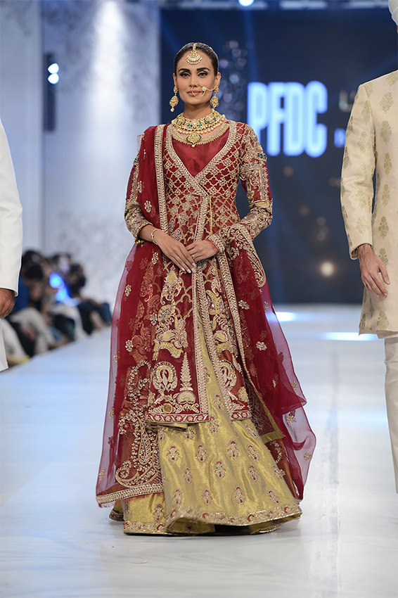 Pakistani Bridal Dresses 2017 in Red and Golden color