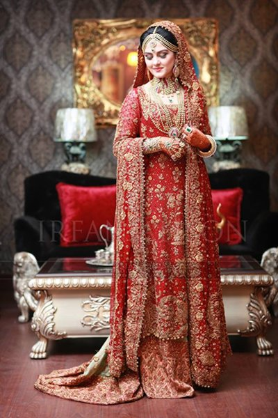 Pakistani Bridal Lehenga in red color