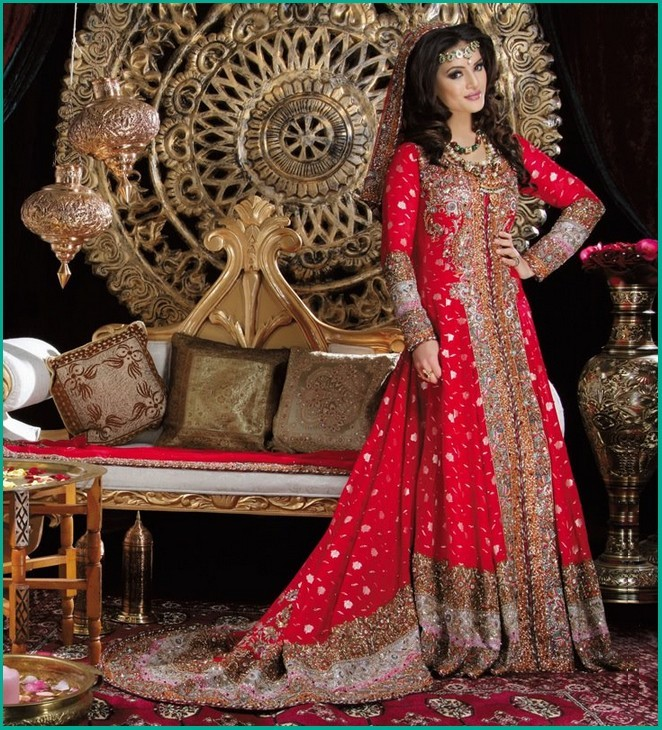 Pakistani bridal frock 2017 with trail