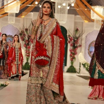 Pakistani Bridal Dresses 2017 sharara in red color
