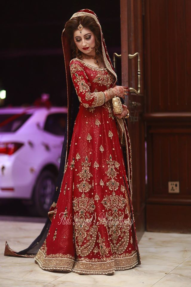 bridal red frock 2017 with golden embroidery