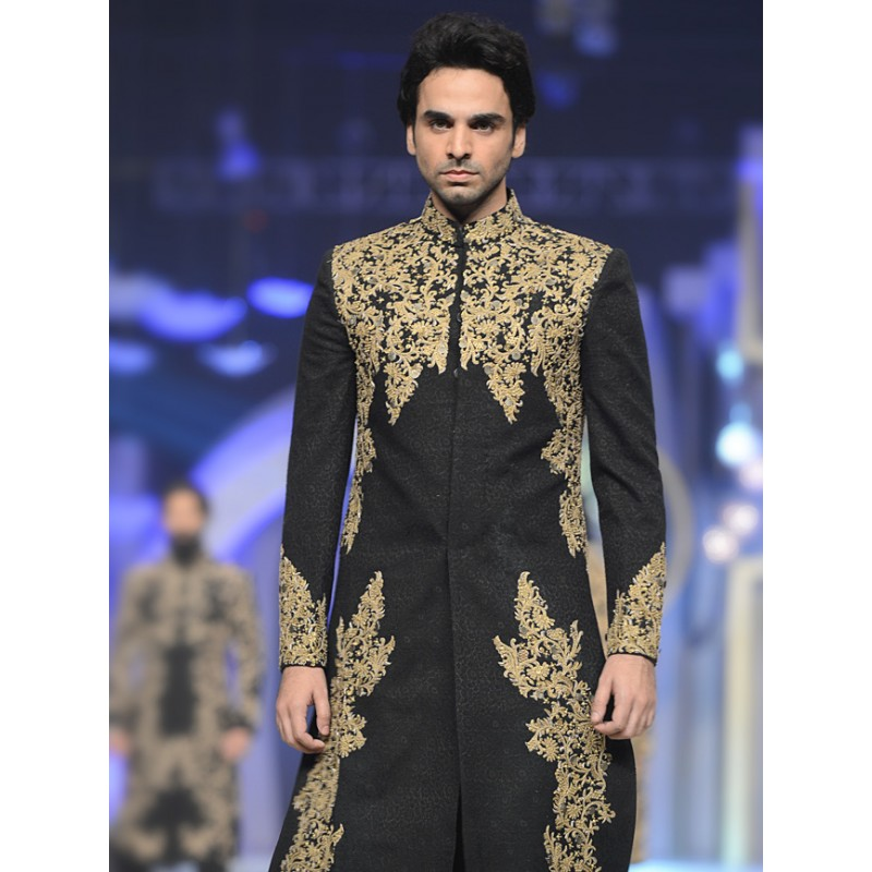 Pakistani Sherwani Designs 2017 in Black Color