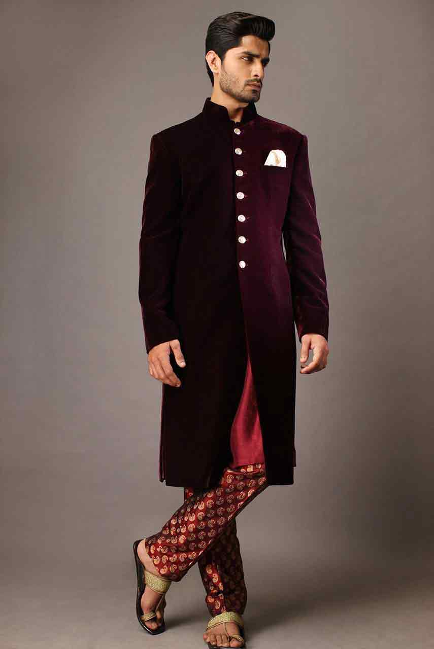 Pakistani Sherwani Designs 2017 In Maroon Color