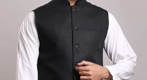 White Shalwar Kameez With Black Waistcoat