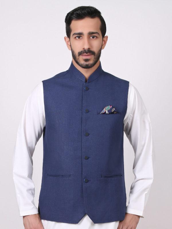 White Shalwar Kameez With Navy Blue Waistcoat