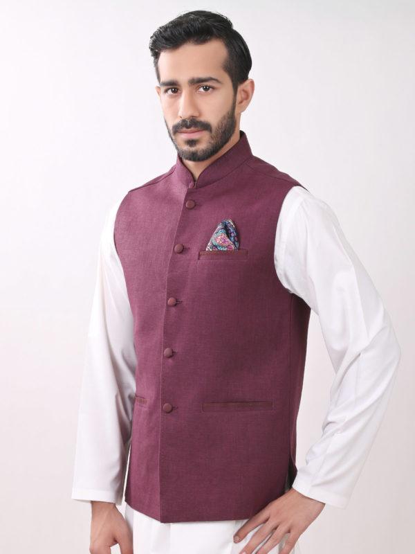 White Shalwar Kameez With Maroon Waistcoat
