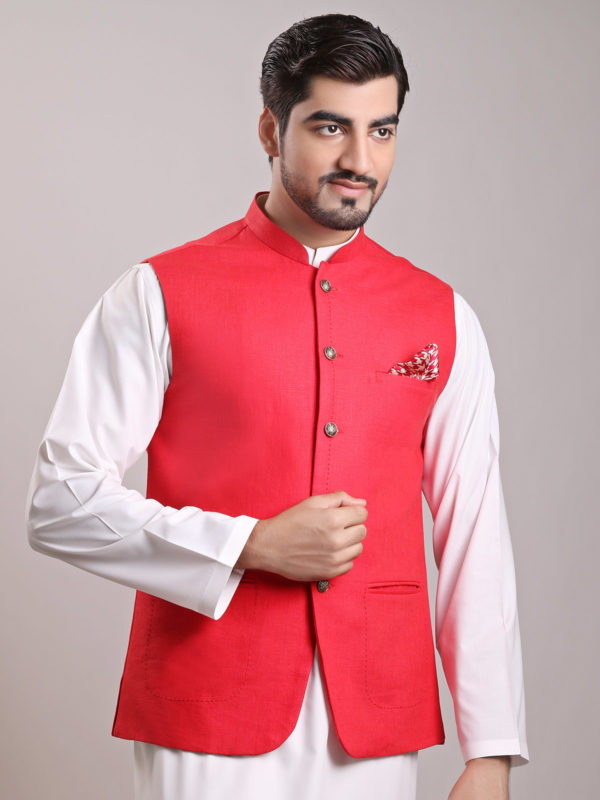 White Shalwar Kameez With Red Waistcoat