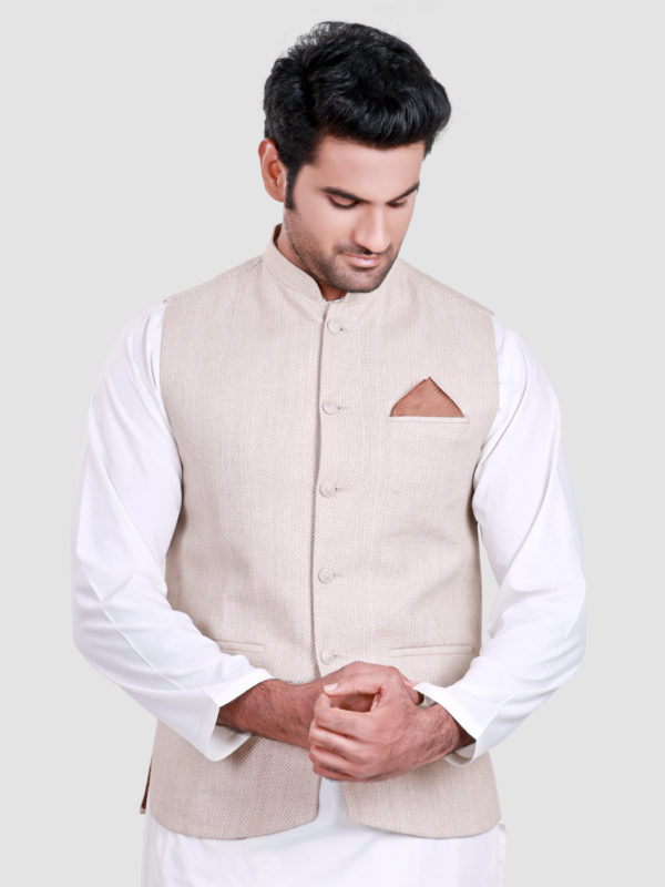 White Shalwar Kameez With Cream Waistcoat