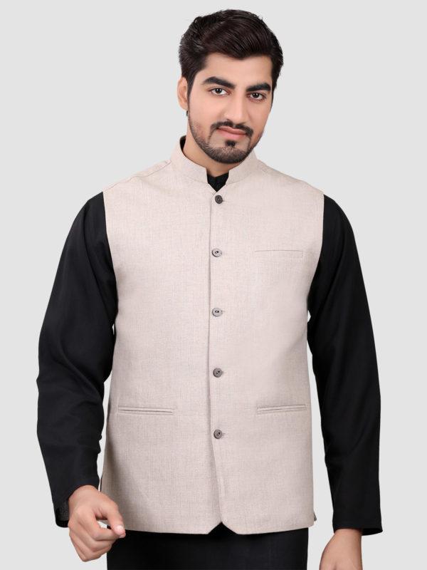 Black shalwar kameez with waistcoat