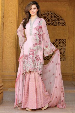 Latest Chiffon Eid Dresses 2017 In Pink Color