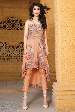 Latest Chiffon Eid Dresses 2017 In Peach Color