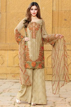Latest Chiffon Eid Dresses 2017 In Golden Color