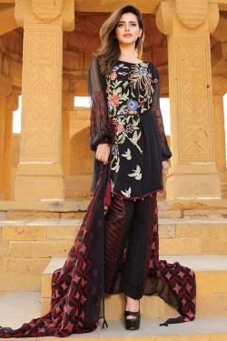 Latest Chiffon Eid Dresses 2017 In Black Color