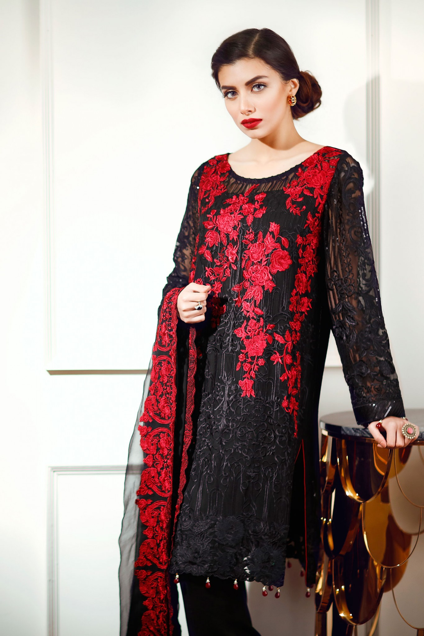 Latest Chiffon Eid Dresses 2017 In Red and Black Color