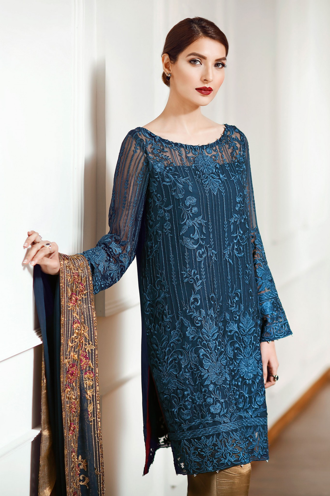 Latest Chiffon Eid Dresses 2017 In Navy Blue Color