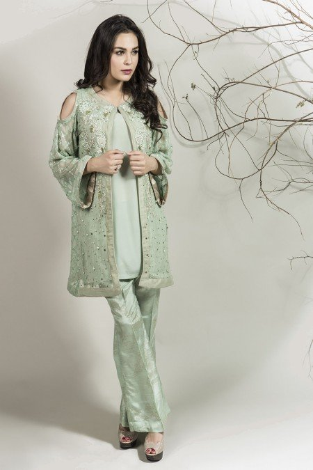 Stylish Pakistani Party Wear Dresses 2017 For Girls In Jacket Style In Light Green Color