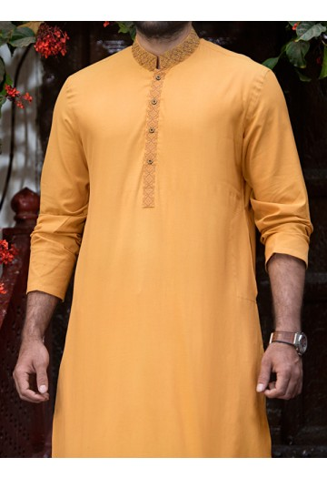 J. Gents Summer Kurta Designs 2017 In light orange Color