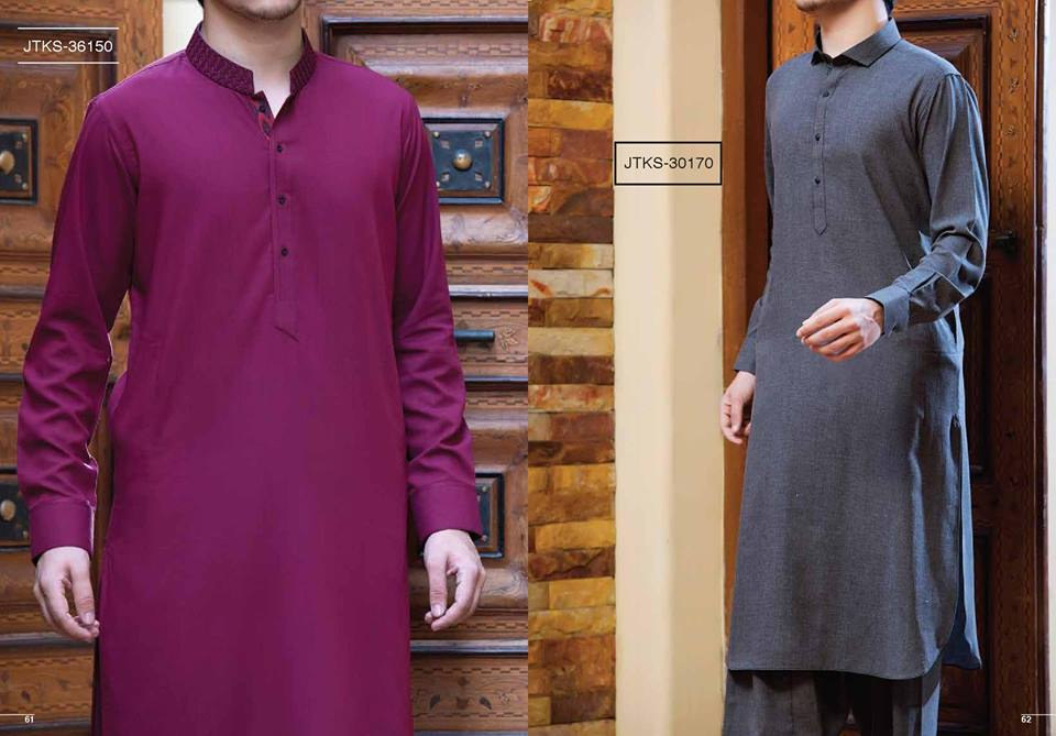 J. Gents Summer Kurta Designs 2017 In Grey Color