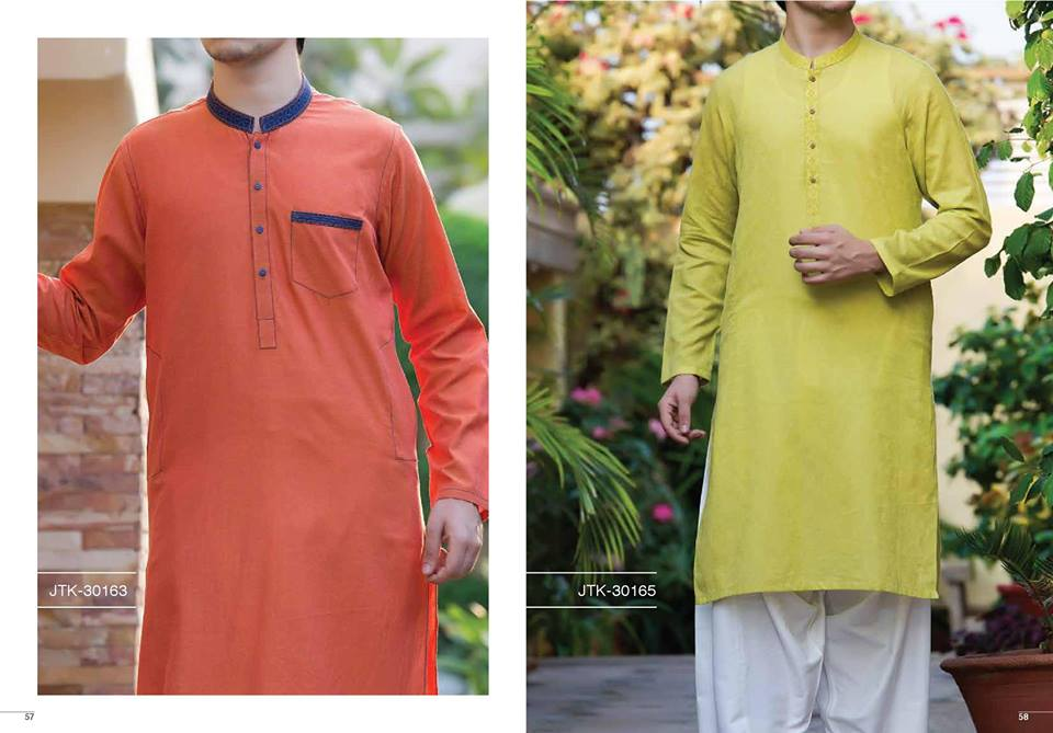 J. Gents Summer Kurta Designs 2017 In Lime Yellow Color