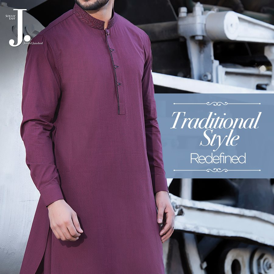 J. Gents Summer Kurta Designs 2017 In Deep Purple Color