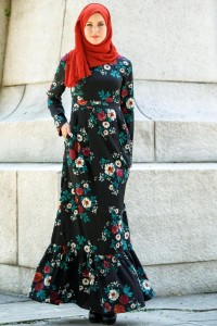Flowery Gown with Red Scarf