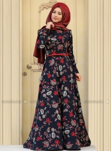 Multi Color Abaya with Maroon Scarf