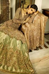 bridal outlook in golden dres