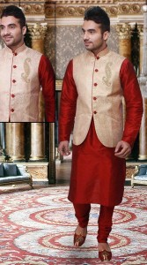 boys red kurta shawar wasket