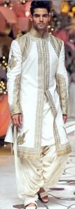 shiny white sherwani