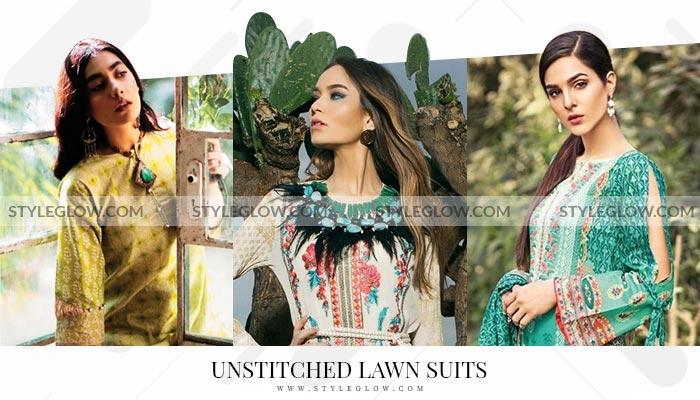 Unstitched Lawn Suits Fabric Pakistan