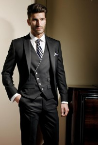 Black 3 Piece Suit for Groom