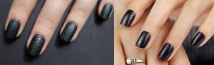 Black Stripped nail Art